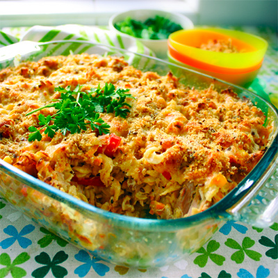 Tuna pasta bake recipe hiding corn, zucchini, carrot and capsicum