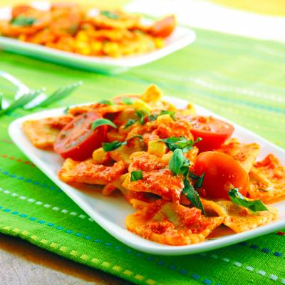 Ravioli with orange sauce
