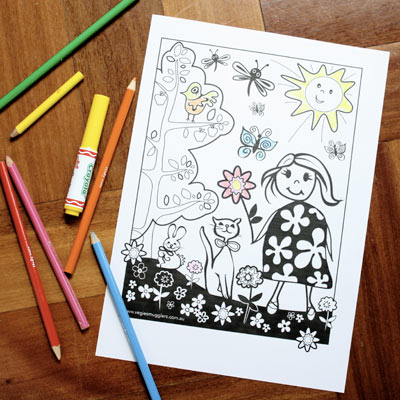 Colouring in worksheet for mum/daughter bonding time.