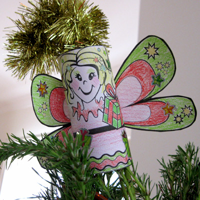 a christmas fairy made from a toilet roll