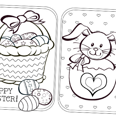 A bunny, eggs and cute stuff to colour.
