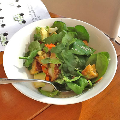 USE LEFTOVERS THE NEXT DAY... make a lunch salad with bits of chicken patties, spinach, carrot, fennel, avocado, sesame seeds and a sprinkle of brown vinegar - I just ate it and IT WAS DELICIOUS.