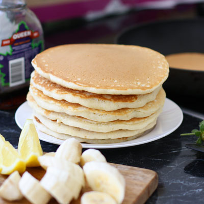 Traditional American-style pancakes.