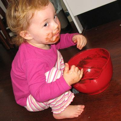 Won't eat vegies. Will lick mixing bowls.