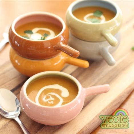 Silky smooth carrot, parsnip & cauliflower soup.