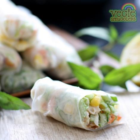 vegie smugglers BBQ chicken rice paper rolls