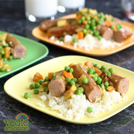 Curried sausages & cauliflower rice