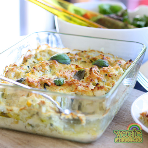 Gluten-free chicken pesto bake