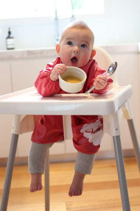 Little-Chomps_Red-smock-with-bowl